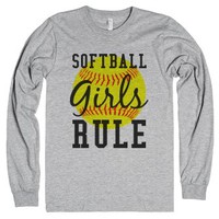 Softball girls rule long sleeve tee t-shirt-Heather Grey T-Shirt