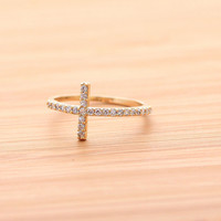 SIDEWAYS CROSS ring, with crystals in gold(plated, 925sterling) | girlsluv.it