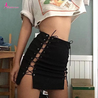 2017 Autumn Lace up Vintage High Waist Sexy Pencil Black Skirts Bandage Hollow Out Work Casual Solid Empire Novelty Mini Skirt