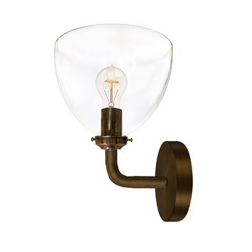 Clear Blown Glass Bell Wall Sconce- Bronze