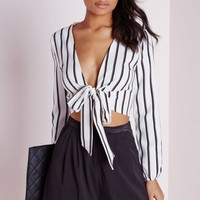Missguided - Bell Sleeve Stripe Tie Front Crop Top White