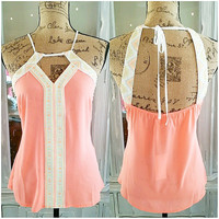 COLOR MY WORLD BRIGHT CHIFFON BEADED TOP IN APRICOT