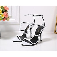 ysl fashion trending leather women high heels shoes women sandals heel 6