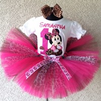 Baby Minnie Mouse Hot Pink Leopard Cupcake Birthday Tutu Outfit