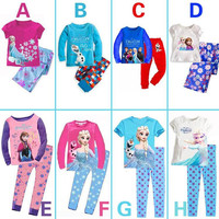 Girls Clothes Kids Summer Ice and Snow Character Printing Suit Children Short & Long Sleeve Causal Suit