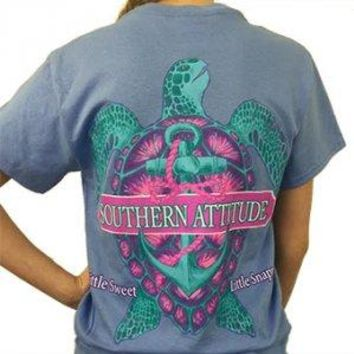 """Southern Attitude """"Snappy Turtle"""" Short Sleeve Tee"""