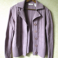 Cardigan Sweater Vintage 90s button front cotton sweater cable knit jacket with collar dusty lavender mauve womens medium Preswick and Moore