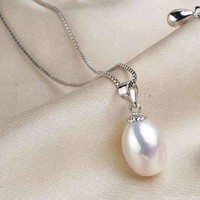 Pure White Genuine Freshwater Pearl Drop Necklace