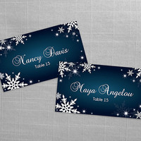 DIY Printable Wedding Place Name Card Template | Editable MS Word file | 3.5 x 2| Instant Download | Winter White Snowflakes Dark Turquoise