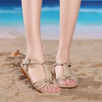 Big Size Knitting Beaded Strappy Buckle Peep Toe Flat Chunky Heel Sandals