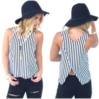 Sensation Stripe Cross Back Top