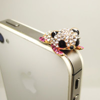 1PC Bling Crystal Cute Lying Bear Cell Phone Earphone Jack Antidust Plug Charm for iPhone 5c,5s,Samsung S3,S4 Gift for Him Friend Gift
