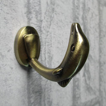 Dolphin Hooks / Shabby Chic Decorative Wall Hooks Antique Bronze / Coat Hangers / Coat Rack Hook / Nautical Coat Hooks Towel Hanger Hook H16