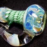 Glass Pipe, Heady Color Changing 3 Section Chillum with Jellyfish Implosion, Hitter, OOAK, Cgge Team, Ready for shipping