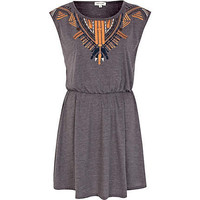 Grey embroidered waisted dress