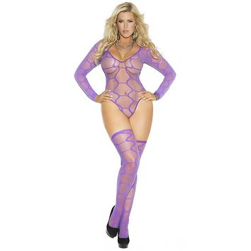 Sexy Plus Size Easy Purple Hexagon Sheer Teddy with Stockings
