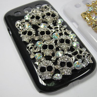 Black or White color Bling Skull head decor case cover for Samsung Galaxy S3