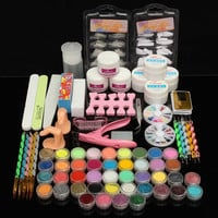 Professional Acrylic Powder Glitter UV Gel Primer Nail Art Tips Brush Block File Manicure Kits