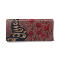 Leather Checkbook Wallet Vintage 1990s Long Cherry Blossoms Prince