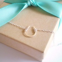 Tiny Luck Necklace Tiny Hand Formed Sterling by BeauAndStella
