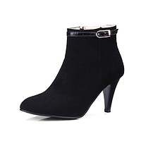 Pointed Toe Spike Heeled Ankle Boots for Women 8916