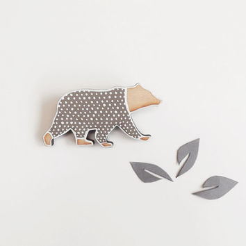 Bear Brooch - Eco Friendly Grey and White