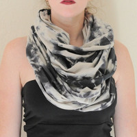 Tie Dye Cowl Scarf Hand Dyed in Soft Knit Cotton - Infinity Scarf - Circle Scarf - Large Chunky Scarf - Unisex Gift - Eternity Scarf