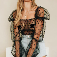 Summer new sexy wave point mesh perspective lace shirt puff sleeve long sleeve shirt women