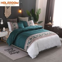 Simple Printing Duvet Cover Sets Polyester Plain Bedding Set Reactive Printing Duvet Cover With Pillowcases Printed Bedding Set