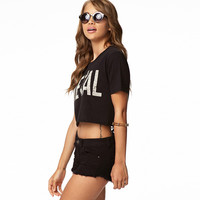 "Black ""METAL"" Print Short-Sleeve Crop Tank"