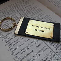 Quote Engraved Personalized Mens Keychain / Custom Leather Keychain / Gift for Him