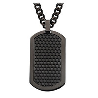 """Black Grille Dog Tag - Stainless Steel 2"""" Onyx Brushed Pendant with Chain"""