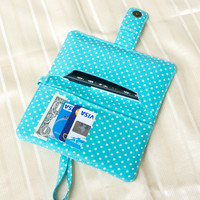 IPHONE WALLET PURSE Light Blue Polka Dot Card Holder iPhone Case iPhone Sleeve iPhone Pouch Samsung Galaxy S3 Galaxy S4 Note 2 Note 3