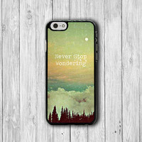 Never Stop Wondering Quote iPhone 6 Cases, Vintage Wisdom Word iPhone 5S, iPhone 6 Plus , iPhone 4S Hard Case, Rubber Deco Accessorie Cover