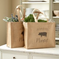 Piggy Goes To Market Totes - Set of 2