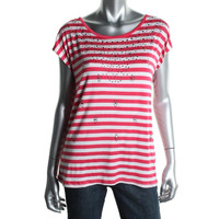 Joseph A. Womens Striped Embellished Casual Top