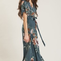 Bethany Teal Floral Maxi Dress