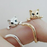 Navi cat ring silver by TheGoldCatcom on Etsy