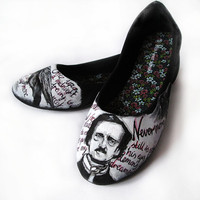 Handpainted ballerinas Edgar Alan Poe The Raven, custom flats, ballerinas, handpainted slip ons