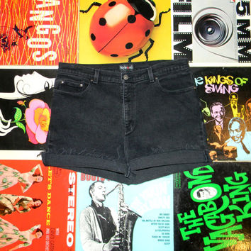 Vintage Denim Shorts, 90s Style & Co High Waisted Black STRETCH Jean Cut Offs, Cut Off, Frayed, Rolled Up, PLUS Size 14, ooak, Plus Sized XL