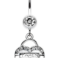 Jeweled Heart Lock Charm Dangle Belly Button Ring