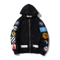 OFF- WHITE Autumn and Winter Simple Embroidered Shoulder Badge Loose Hooded Jacket