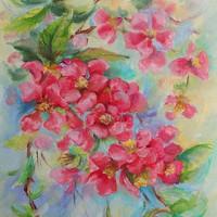 Quince Blossom Red FLOWER Flowering twig Framed Art, Original oil painting Still life Painted from nature, Small Floral Art ready to hang