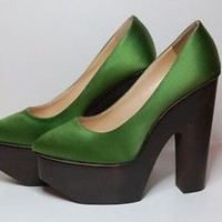AUTH CHARLOTTE OLYMPIA GREEN SATIN LEATHER BROWN WOOD SIZE EURO 36.5 HEEL
