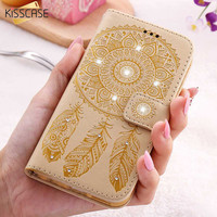 KISSCASE Flower Leather Case For iPhone 7 6 6S Plus 5 5S SE Wallet Bag Cases For Samsung Galaxy S7 S6 Edge Plus S5 Stand Coque