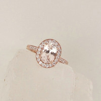 Peach Champagne Sapphire 1.97cts Engagement Ring 14k Rose Gold Diamond Halo Vintage Style Gemstone Engagement Ring Weddings Anniversary