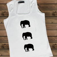 Women's Tank Elephanton a U Ladies Elephant Tank,Screen Printing Tank,Women's Tank,White Tank,Size S, M, L