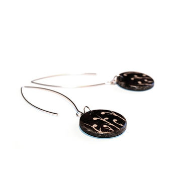 Ceramic earrings - natural jewelry, floral jewelry, rustic jewelry, brown and black