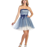 Royal Blue & Ivory Strapless Sequin Ombre Short Dress 2015 Prom Dresses