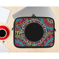 The Vector Colored Aztec Pattern WIth Black Connect Point Ink-Fuzed NeoPrene MacBook Laptop Sleeve